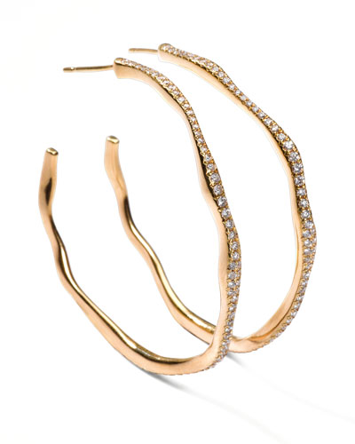 Drizzle #3 Wavy Diamond Gold Hoop Earrings