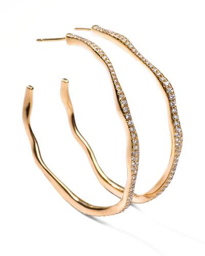 Drizzle #3 Wavy Diamond Gold Hoop Earrings