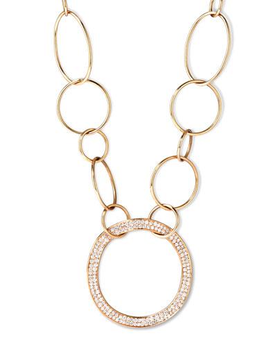 Stardust 18k Gold Pave Diamond Hollow-Pendant Chain Necklace