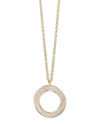 Stardust 18k Gold Diamond Open Circle Pendant Necklace