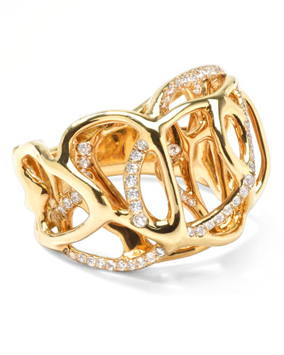 Drizzle 18k Gold Diamond Rounded-Cutout Ring