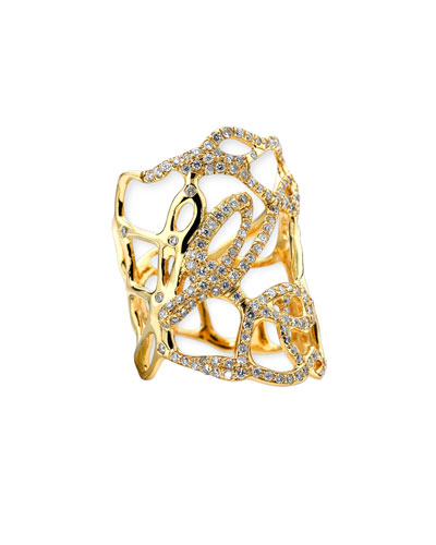 Drizzle Wide Gold Diamond Cutout Ring