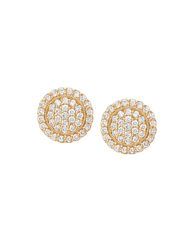 Scalloped Pave Diamond Stud Earrings