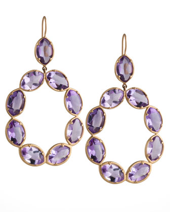 18k Gold Amethyst Marquise Link Earrings