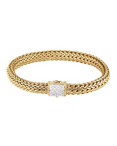 Classic Chain Gold Diamond Bracelet, Medium