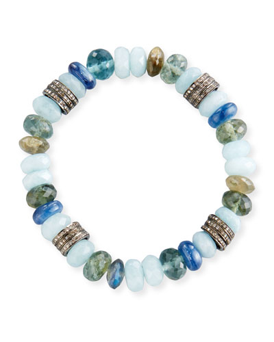 10mm Mixed Bead Bracelet with Pavé Diamonds, Blue