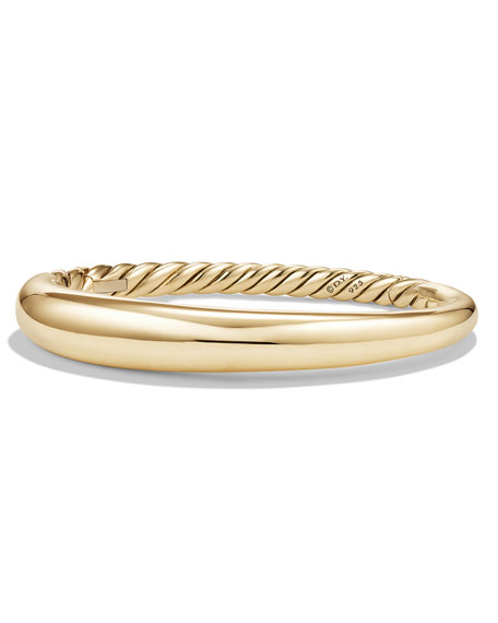 David Yurman 9.5mm Pure Form Large Smooth Bracelet in 18K Gold, Size M