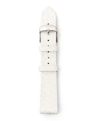18mm Glitter Watch Strap, White