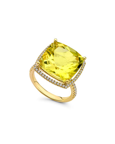 Grace Lemon Quartz & Diamond 18k Gold Ring