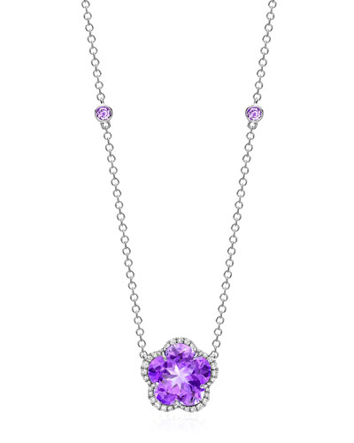 Grace Flower Amethyst & Diamond Pendant Necklace