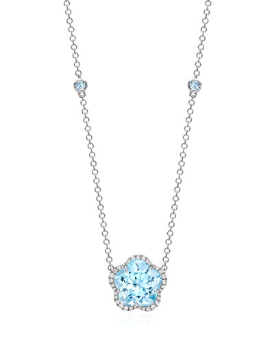 Grace Flower Blue Topaz & Diamond Necklace