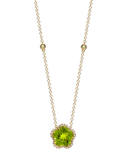 Grace Flower Green Peridot & Diamond Necklace
