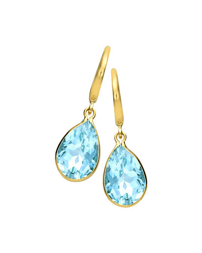 18k Gold Eternal Blue Topaz Teardrop Earrings