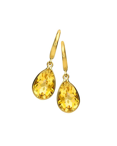 Eternal 18k Gold Citrine Pear-Drop Earrings