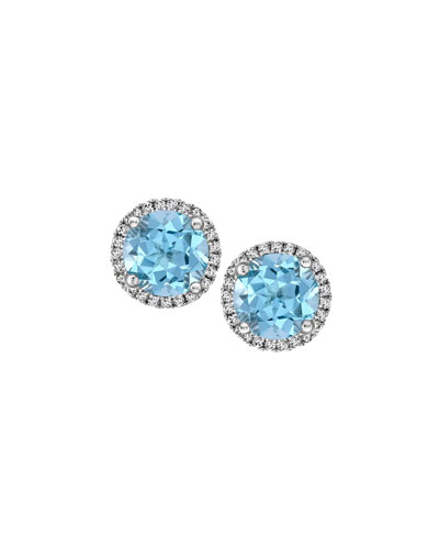 Grace 18k Gold Blue Topaz & Diamond Earrings