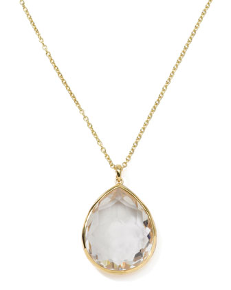 Rock Candy 18k Gold Large Teardrop Pendant Necklace, Clear Quartz