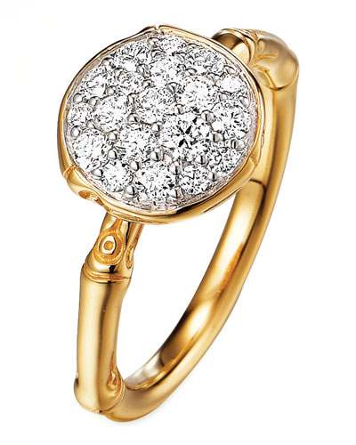 Bamboo 18k Gold Diamond Round Ring, Size 7