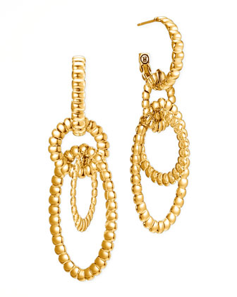 Bedeg 18k Gold Circle Hoop 3-Drop Earrings