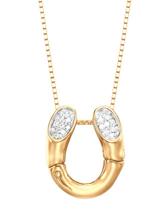 Bamboo 18k Gold Pave Diamond Horseshoe Pendant Necklace