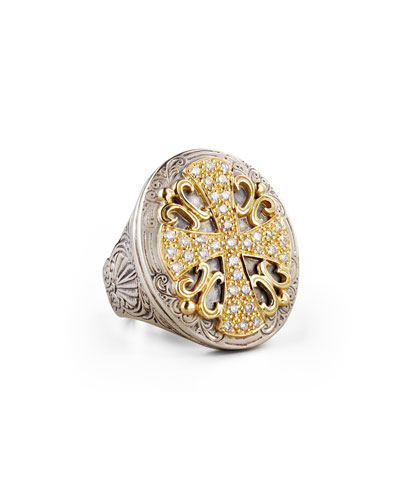 Classic Diamond Pave Large Oval Cross Ring