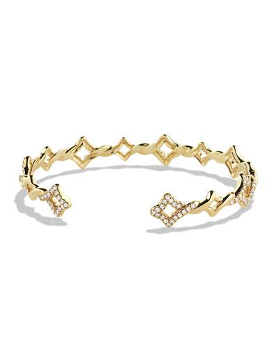 Venetian Quatrefoil Single-Row Cuff Bracelet with Diamonds in Gold
