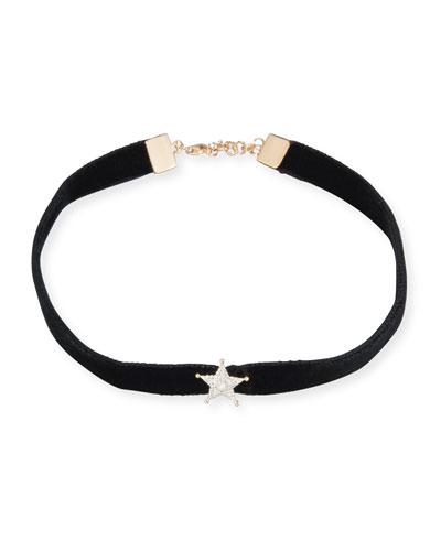 Velvet Choker Necklace with Diamond Star Station