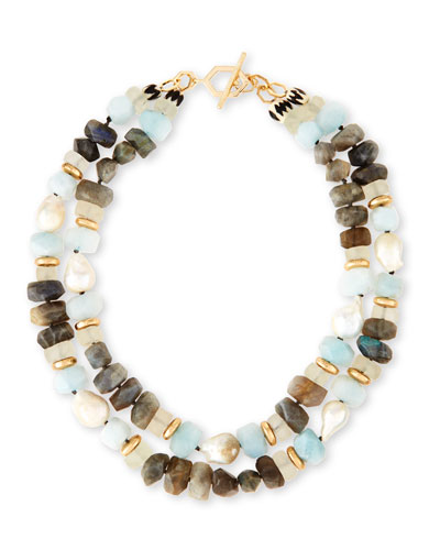 Two-Strand Pearl Nugget, Labradorite & Quartz Necklace