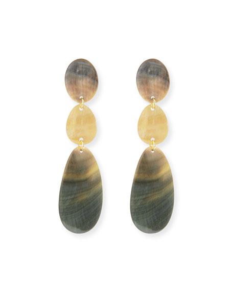 Viktoria Hayman Triple Drop Oval Shell Earrings