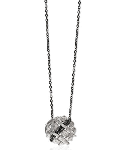 Palm Woven Pendant Necklace with Black Diamonds