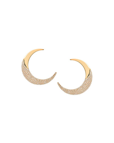 Flawless Crescent Earrings with Diamonds
