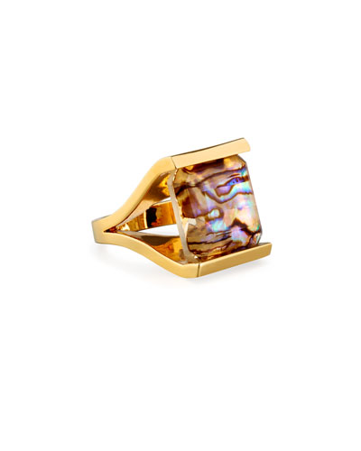 Bedrock Square Abalone Shell Ring, Size 7