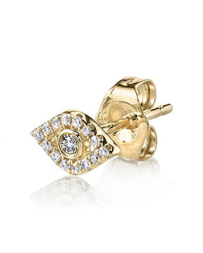 Single Mini Bezel Evil Eye Stud with Diamonds