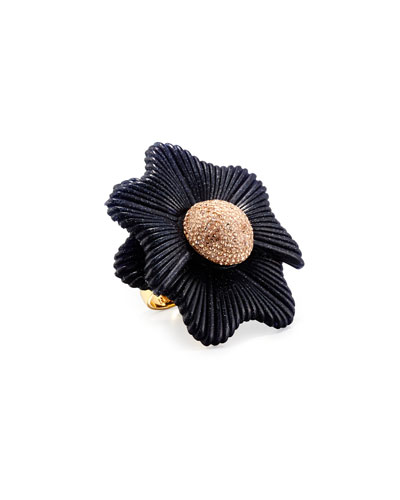 Sugarbush Petal Ring, Dark Blue, Size 7