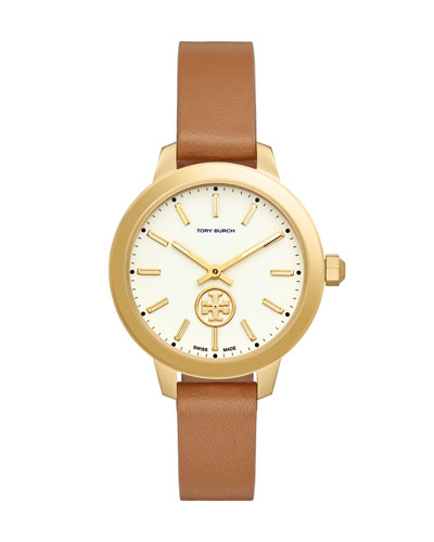 Collins Luggage Leather Two-Hand Watch