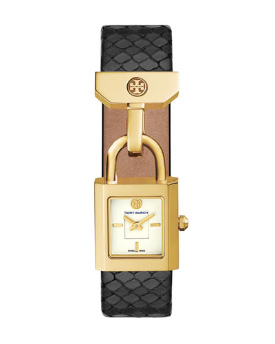 Surrey Black Snakeskin Two-Hand Watch