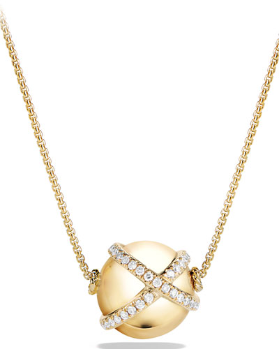 12mm Solari Ball Pendant Necklace with Diamonds