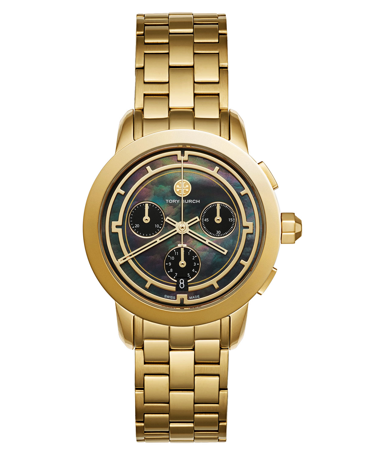 The Tory Classic Chronograph Watch, Black/Golden