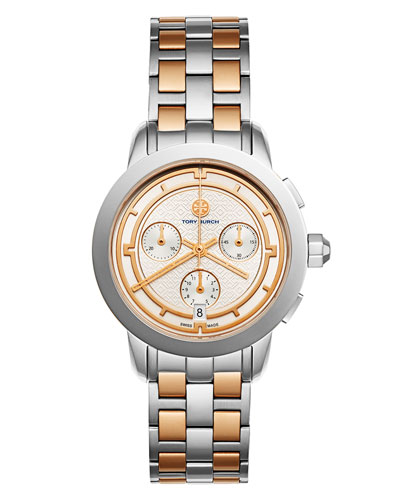 The Tory Classic Two-Tone Chronograph Watch, Rose/Silvertone