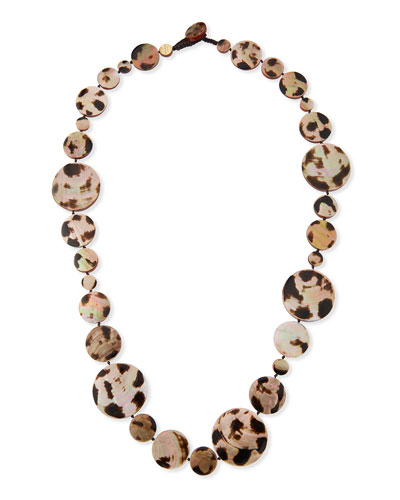 Long Shell Disc Necklace in Leopard, 42
