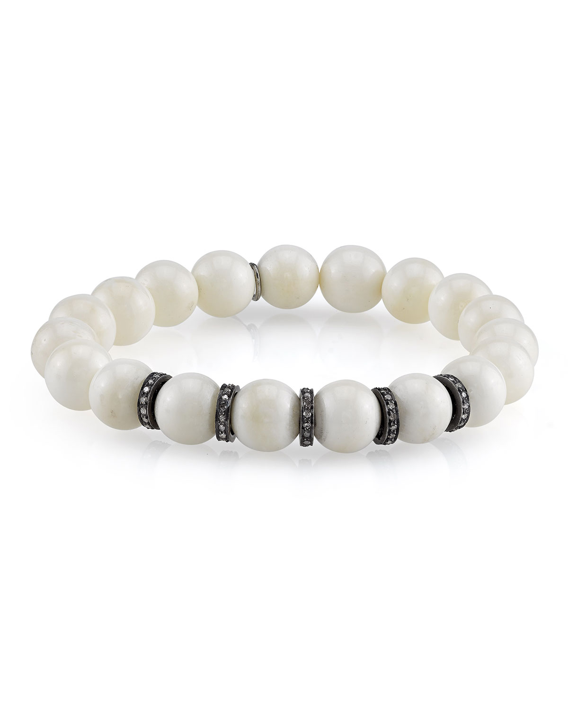 Beaded White Bone Bracelet W/ Silver Diamond Rondelles