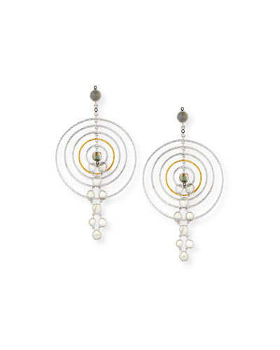 Concentric Labradorite Drop Earrings with Diamonds