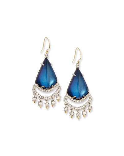 Crystal Lace Chandelier Earrings, Blue Velvet