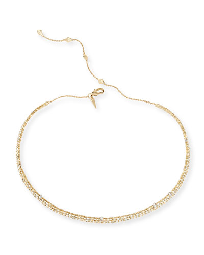 Crystal Spike Choker Necklace, Golden