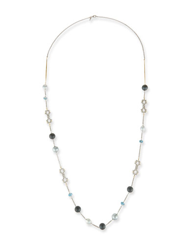 Pearly Crystal Lace Station Necklace, 42