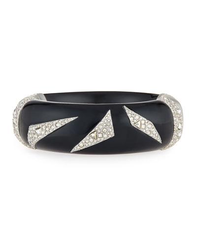 Crystal-Encrusted Origami Cuff Bracelet, Black