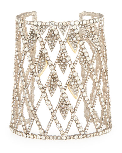Crystal-Encrusted Spiked Lattice Cuff Bracelet