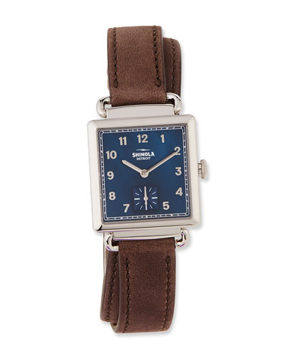 The Cass Leather Strap Watch, Heather Gray