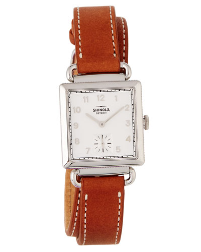 The Canfield Square Watch w/ Leather Strap, White/Bourbon