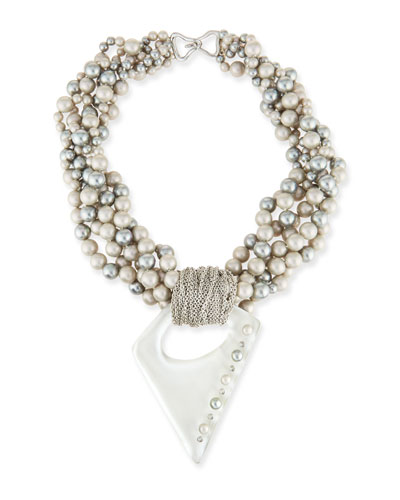 Pearly Multi-Strand Necklace with Studded Pendant