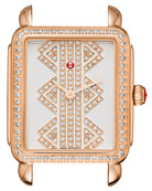 16mm Deco ll Mid Rose Gold Watch Head with Pattern Diamond Dial